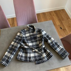 Banana republic coat with black and white checks
